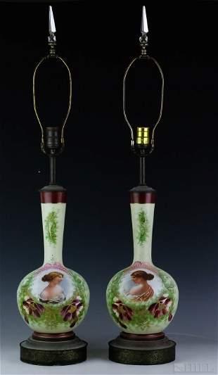 Pair Of Antique Victorian Portrait Art Glass Lamps