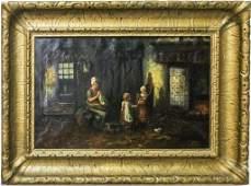 Mystery Artist Dutch Interior Scene Oil Painting