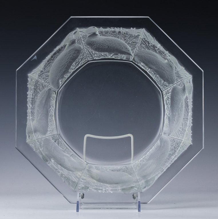 LALIQUE French Crystal Perdrix Centerpiece Bowl