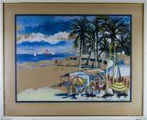 VTG Dong Kingman Beach Scene Watercolor Painting