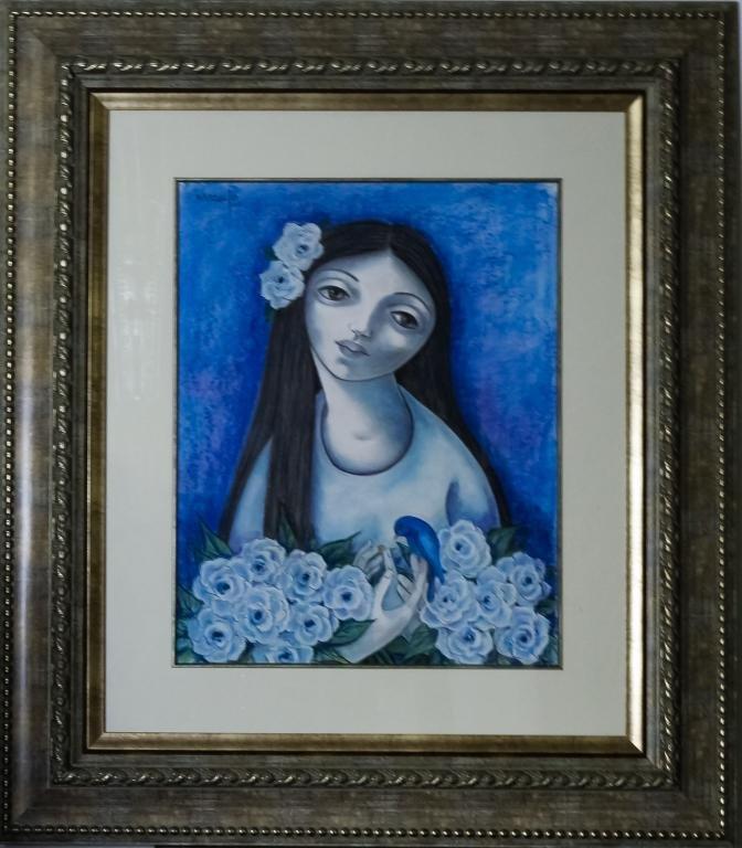 Orlando Naranjo b.1937 Cuban Portrait Art Painting