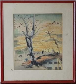 VTG Japanese Landscape Polychrome Woodblock Print