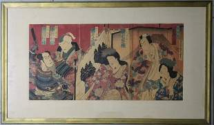 Antique Japanese Figural Triptych Woodblock Print