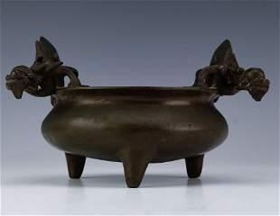 Old Chinese Cast Bronze Dragon Handle Censer Pot