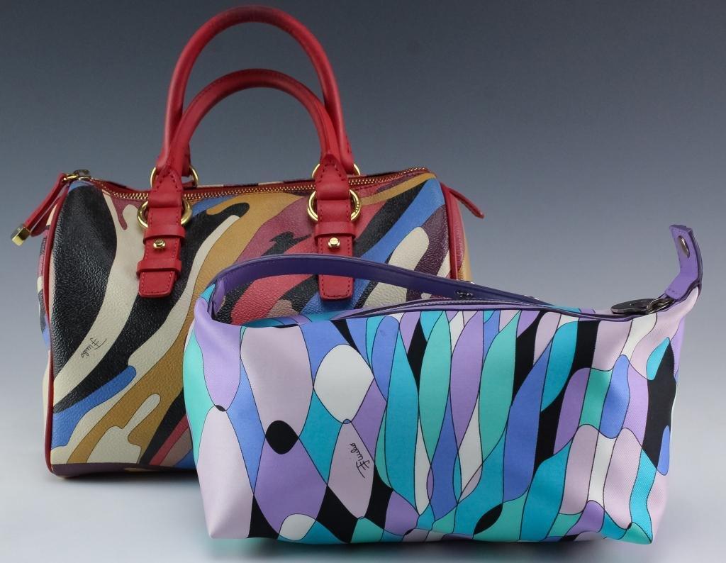 Emilio Pucci Italian Leather Canvas Handbag Purses