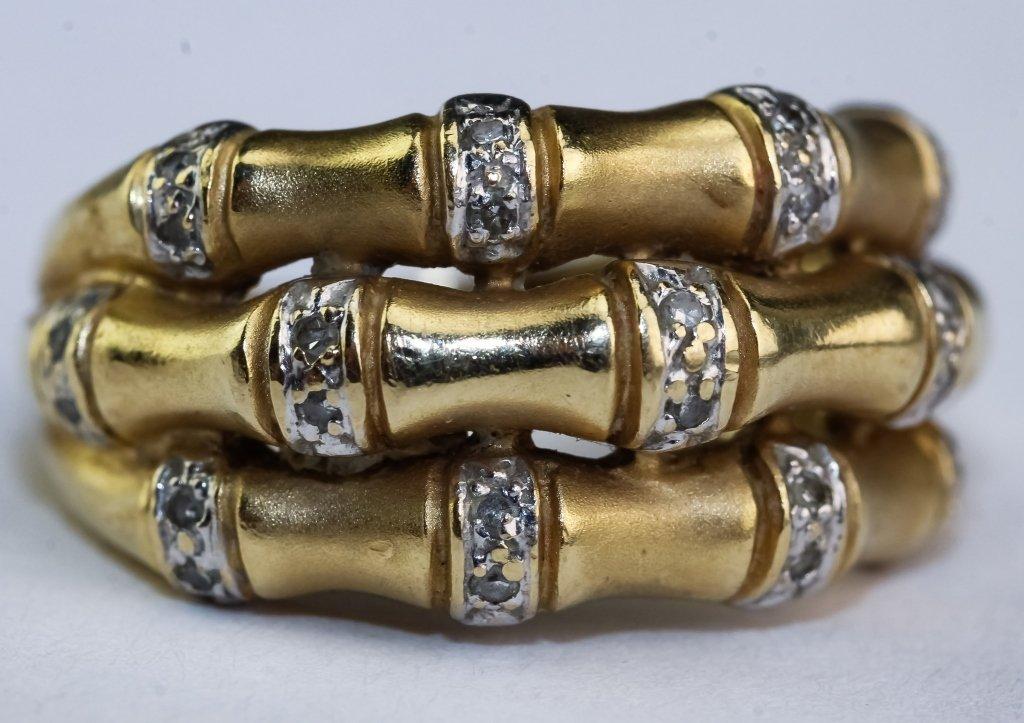 Designer Signed 14k Gold Diamond Bamboo Form Ring