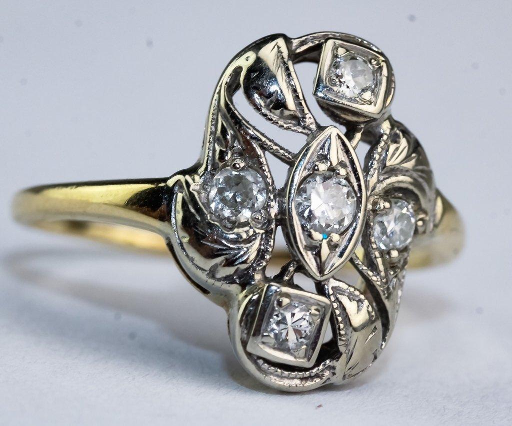 Art Deco 2 Tone 14k Gold .25 CTTW Diamond Ring