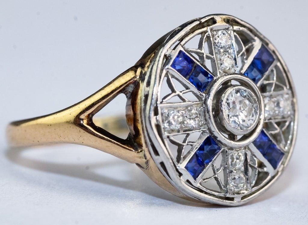 Art Deco 14k & Platinum Diamond & Sapphire Ring