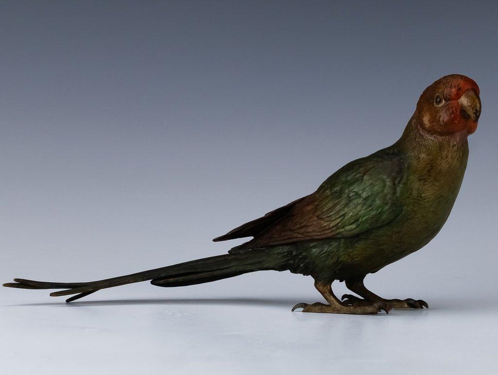 "Franz Bergman Cold Painted Bronze Parrot Bird 11"""