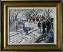 Impressionist Figural Street Scene Oil Painting