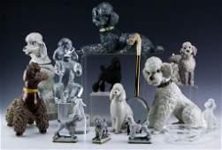 Estate Lot 16 Poodle Porcelain Glass Dog Figurines