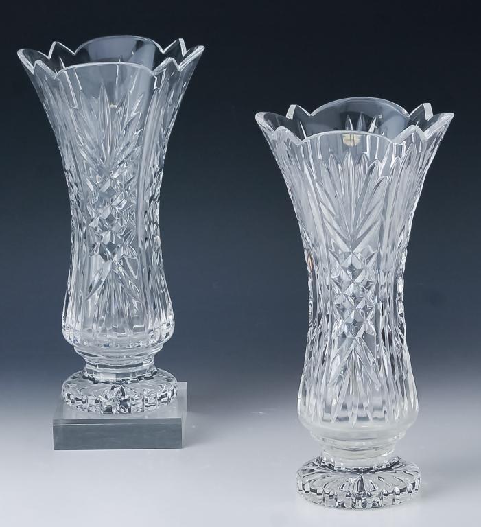 "Pair Waterford Irish Crystal 11"" Tall Deep Vases"