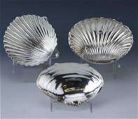 3 Sterling Silver Clam Scallop Shell Dishes 374gr