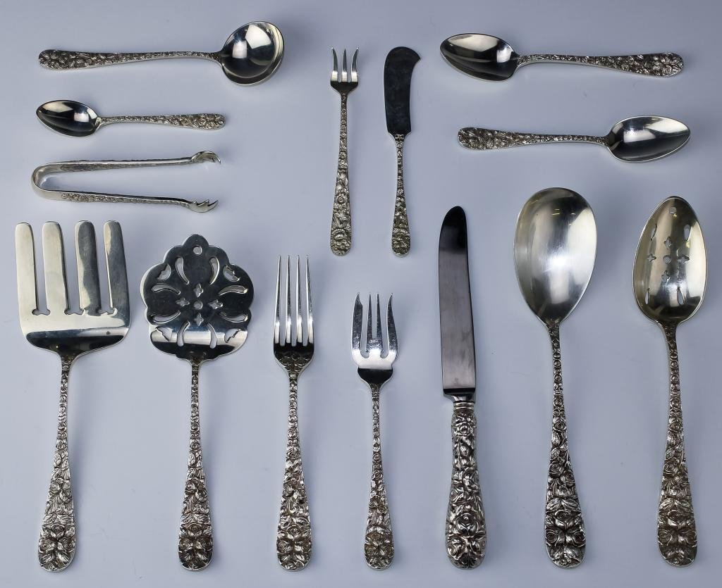 Sterling Silver Floral Repousse Flatware 4595g