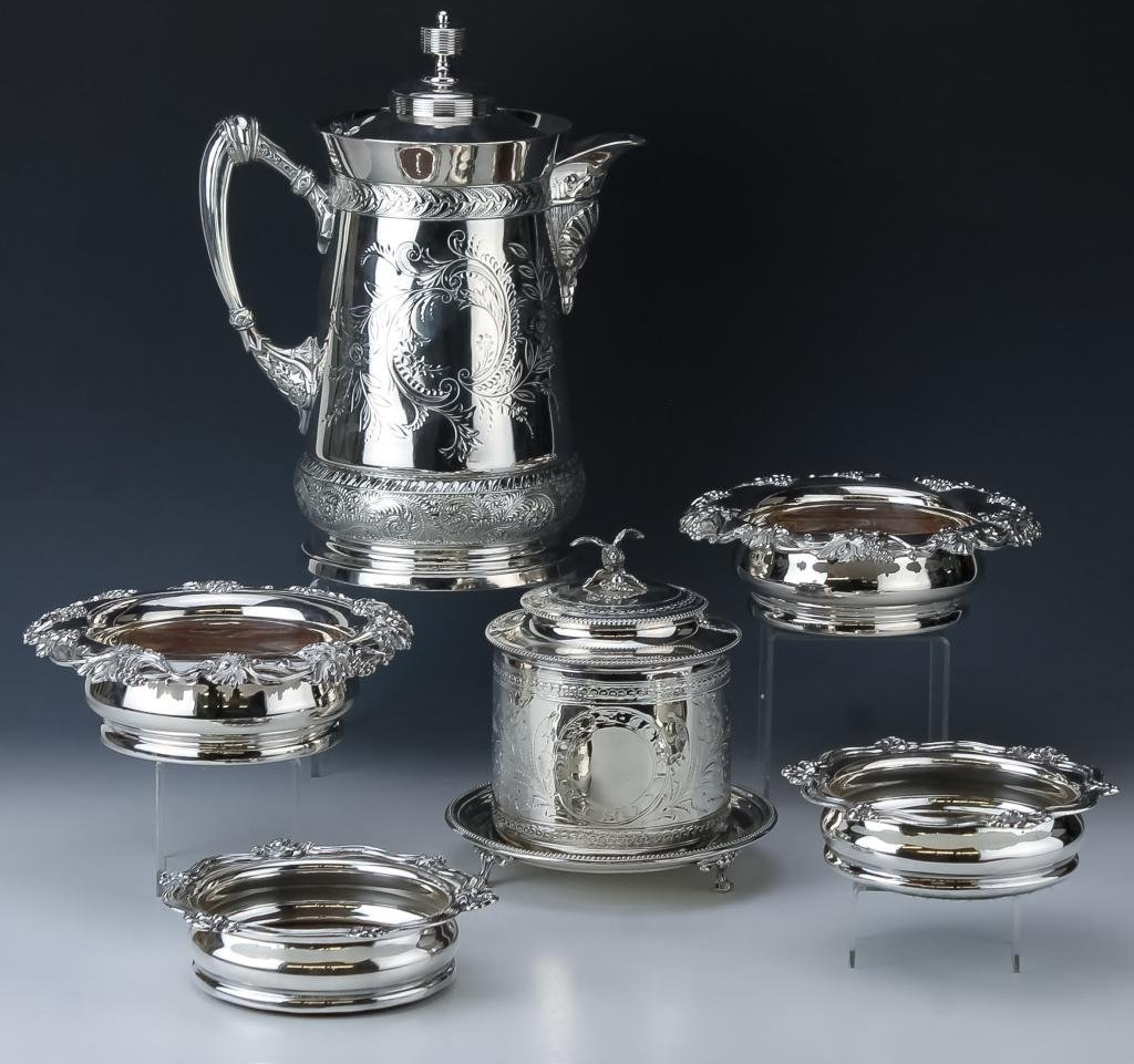 Lot Old Silver Plated Wine Coasters Pitcher Casket