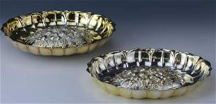 Pair of Gold Gilt Silver Plate Repousse Bowls