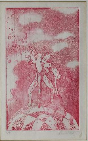 Mystery Artist Signed 18 Etching Ballet Dancers