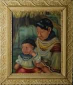 Helen Lowry 20c American Seminole Portrait Oil
