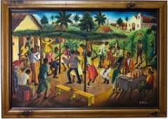 Andre Normil Haitian Dancing Figural Oil Painting