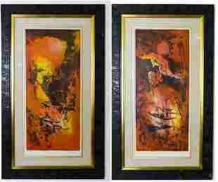 2 Hoi Lebadang Modern Abstract LE Lithograph Litho