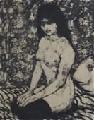 Franco Minei b1922 Italian Nude Female Lithograph