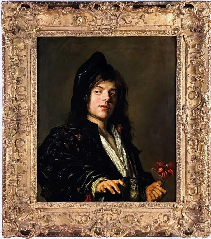 17th Cen Man with a Tulip Oil Painting after Frans Hals