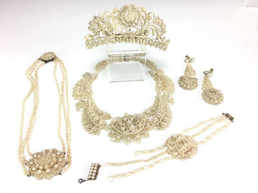 19C Seed Pearl Parure Suite Necklace, Earrings & Tiara