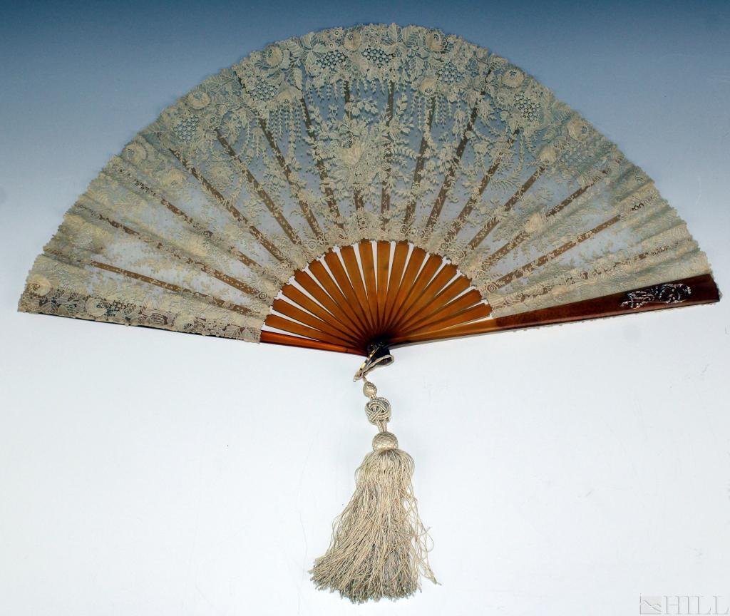 19th Cen. French Brussels Rosepoint Jeweled Wedding Fan