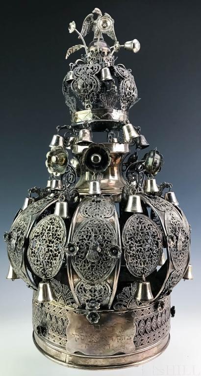 """19th C Russian 84 Silver Torah Crown 19"""" Judaica 3,010g"""