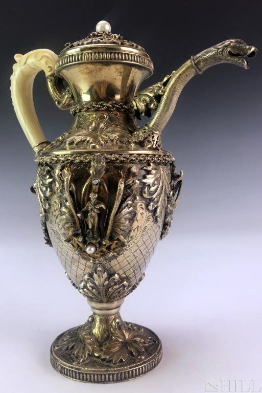 19th C Austrian School Bejeweled Silver Pitcher Teapot