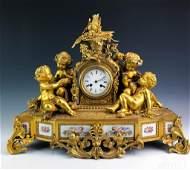 19th C Louis XIV French Rococo Dore Bronze Mantel Clock