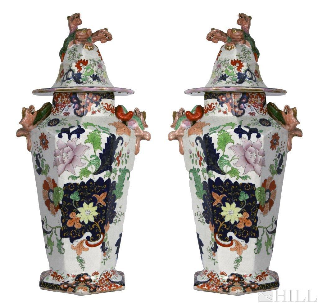 Pair Antique 19th C English Imari Hexagonal Lidded Urns
