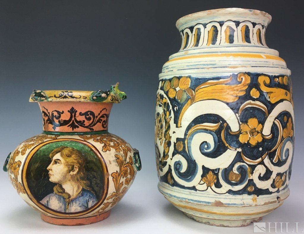 Antique 16th to 17th Century Majolica Pottery Drug Jars