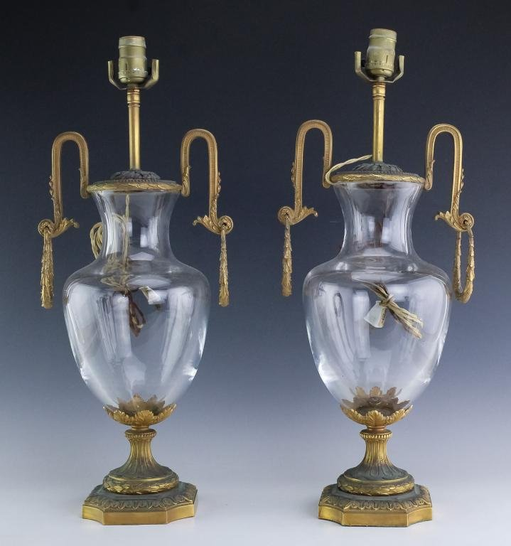 Pair Antique Dore Bronze Mounted Crystal Lamps