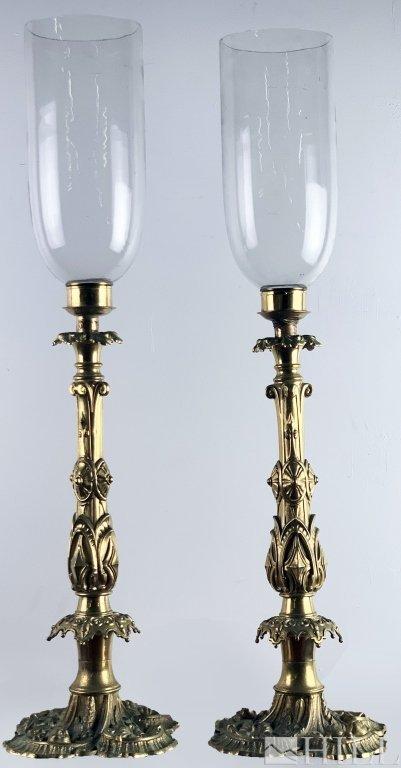 PAIR Antique 19thC Bronze French Hurricane Candlesticks