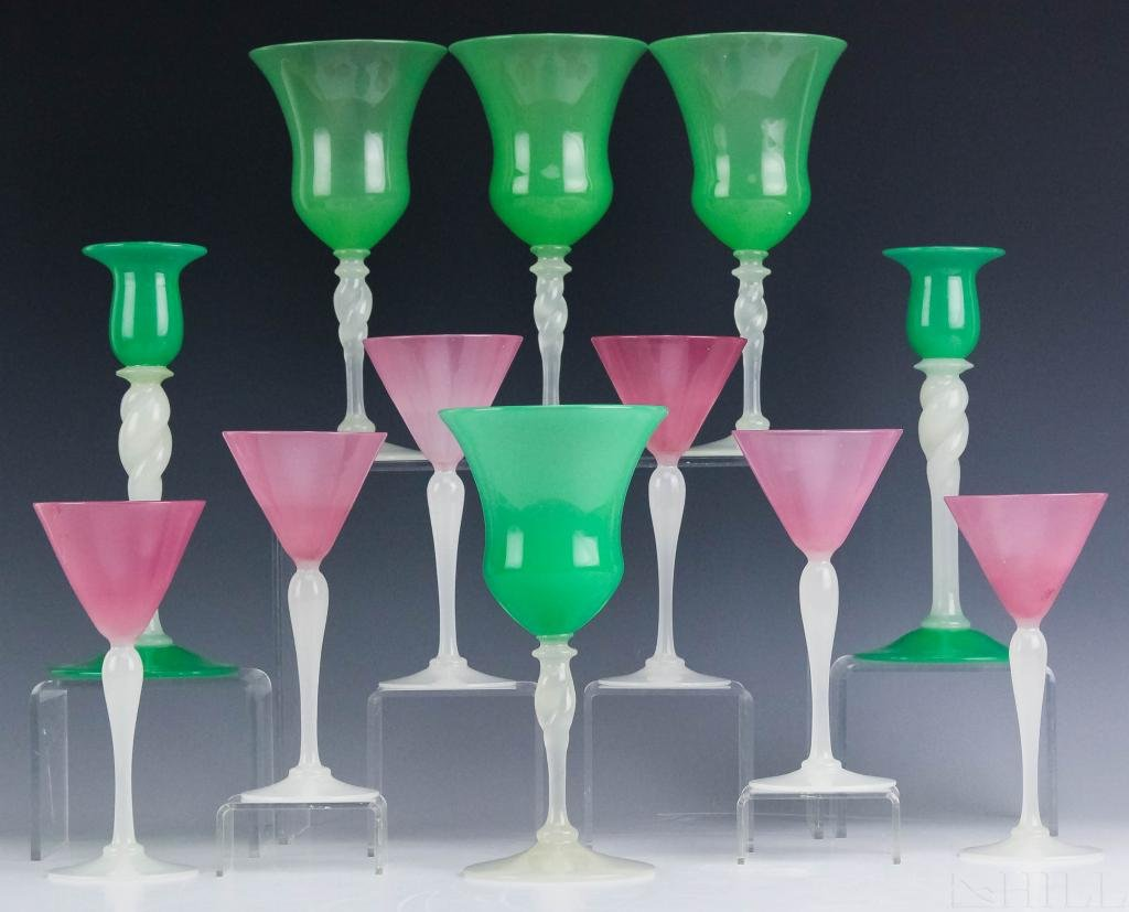 12 Piece LOT Steuben Alabaster Art Glass Stemware