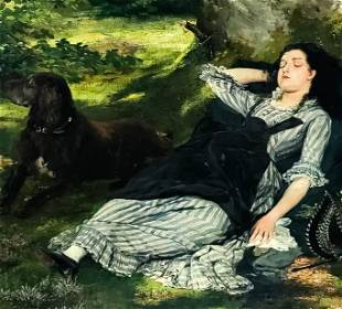 Girl with Dog Oil Painting after James Jacques Tissot
