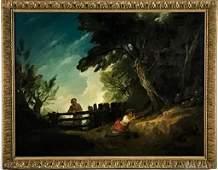 19C Pastoral Landscape Oil Painting attr Thomas Barker
