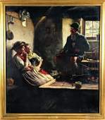 Emil Rau (1858-1937) Figural Interior Oil Painting