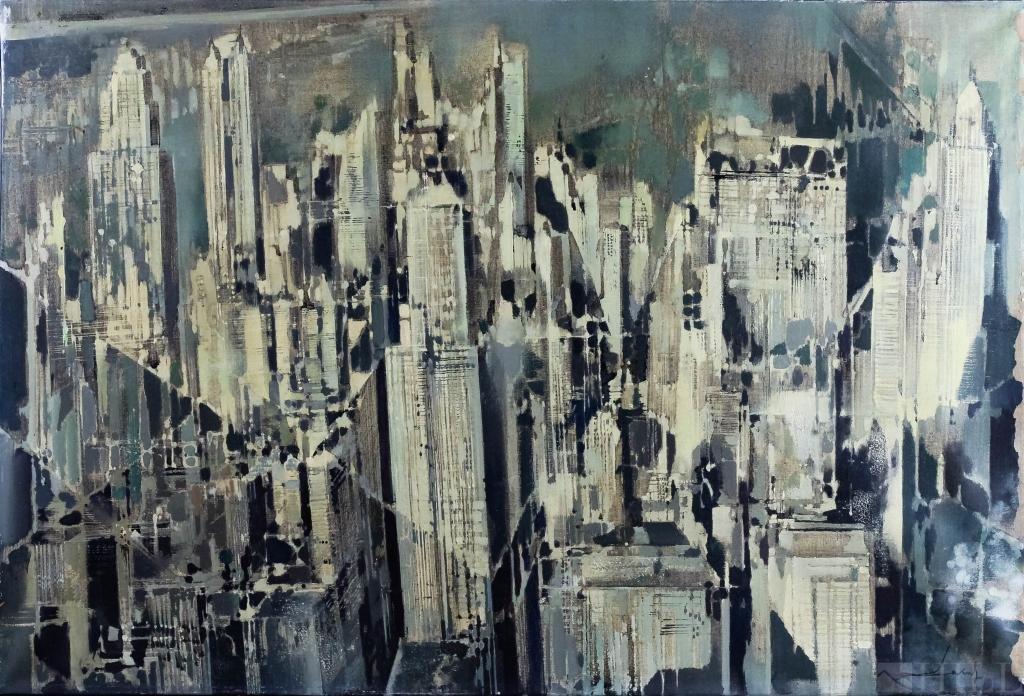 New York City Skyline Modern NYC Cityscape Oil Painting