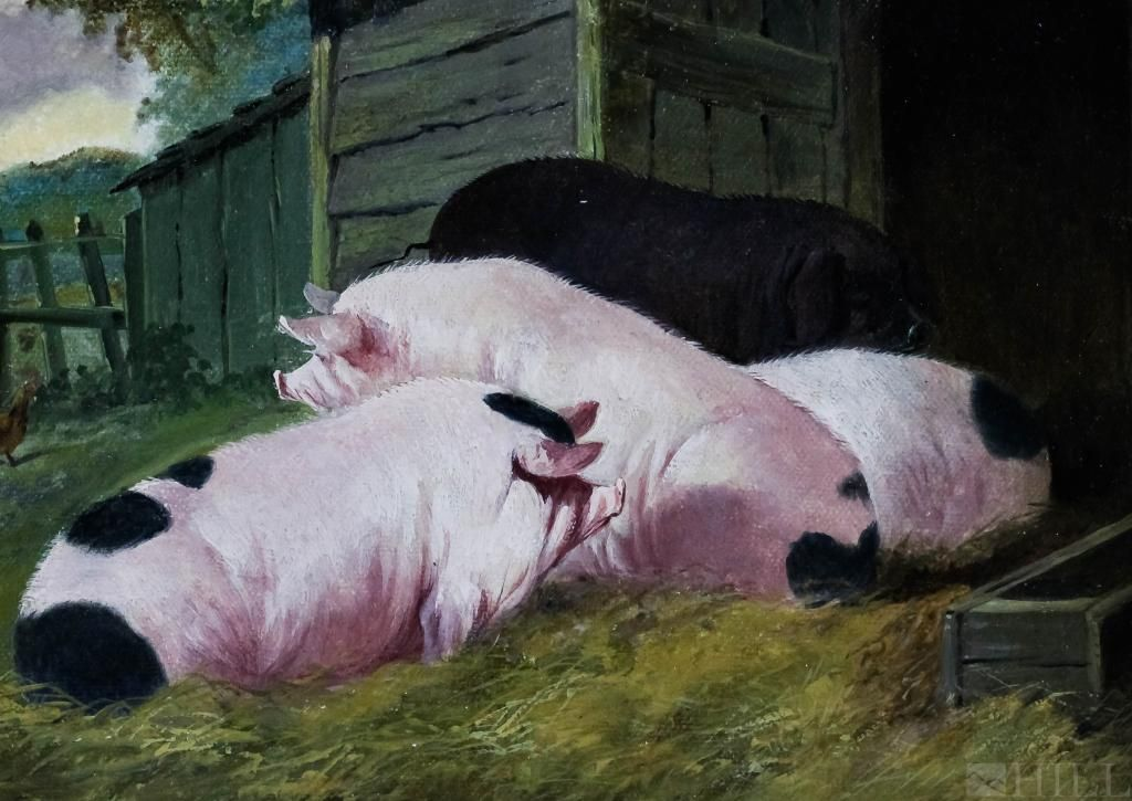 Antique 19th C Mystery Artist Farm Scene Oil Painting