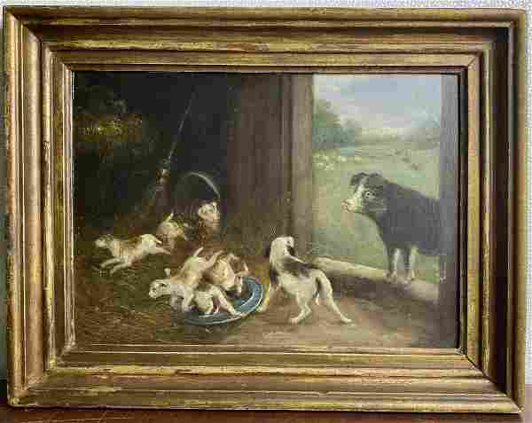Antique English Mystery Artist Farm Scene Oil Painting