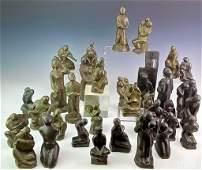 1964 Mid Century Modern Bronze Chess Sculpture Set