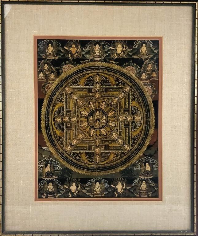 Antique Buddha Tibetan Thangka Gold Wheel Painting