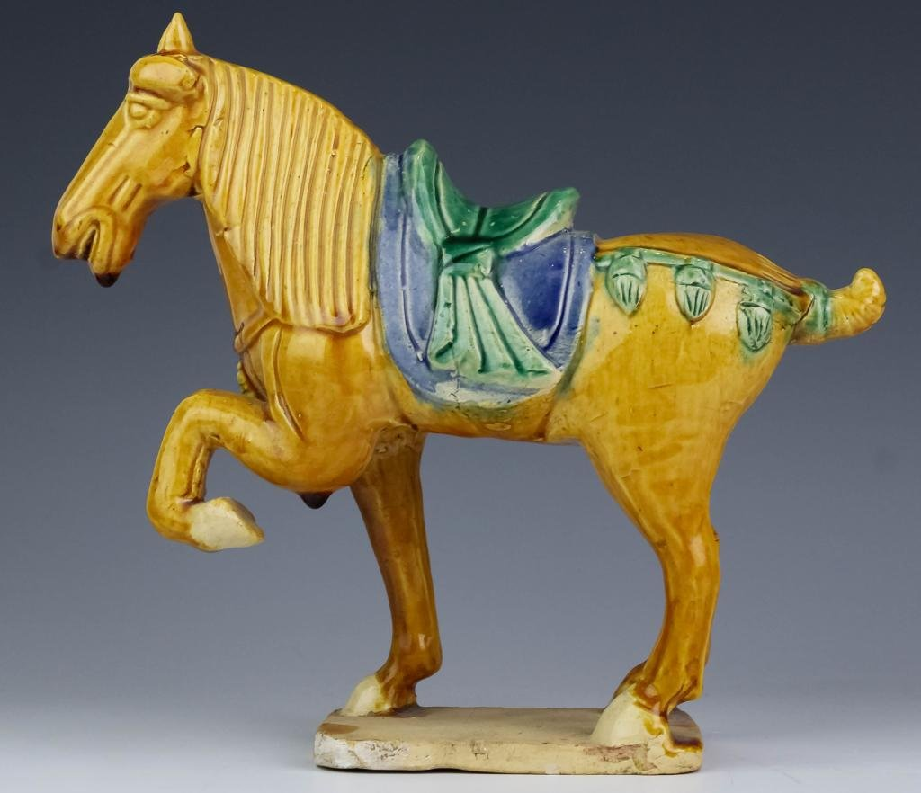 VTG Chinese Polychrome Tang Horse Roof Tile
