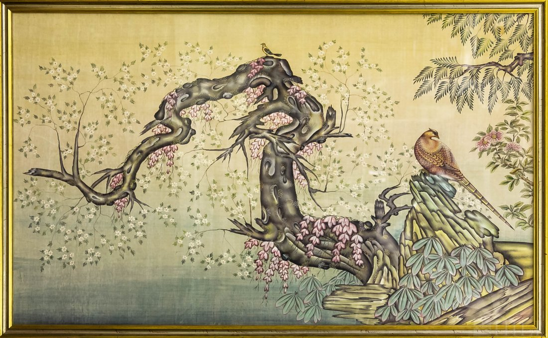 Asian Cherry Blossom Watercolor Painting On Silk