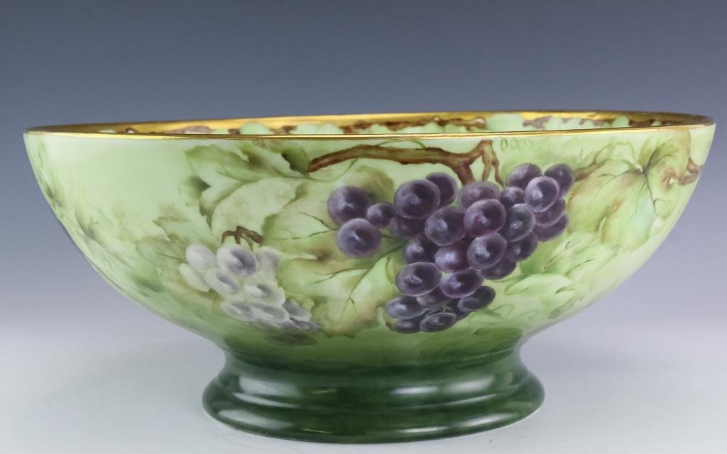 Hand Painted Limoges Porcelain Grape Punch Bowl