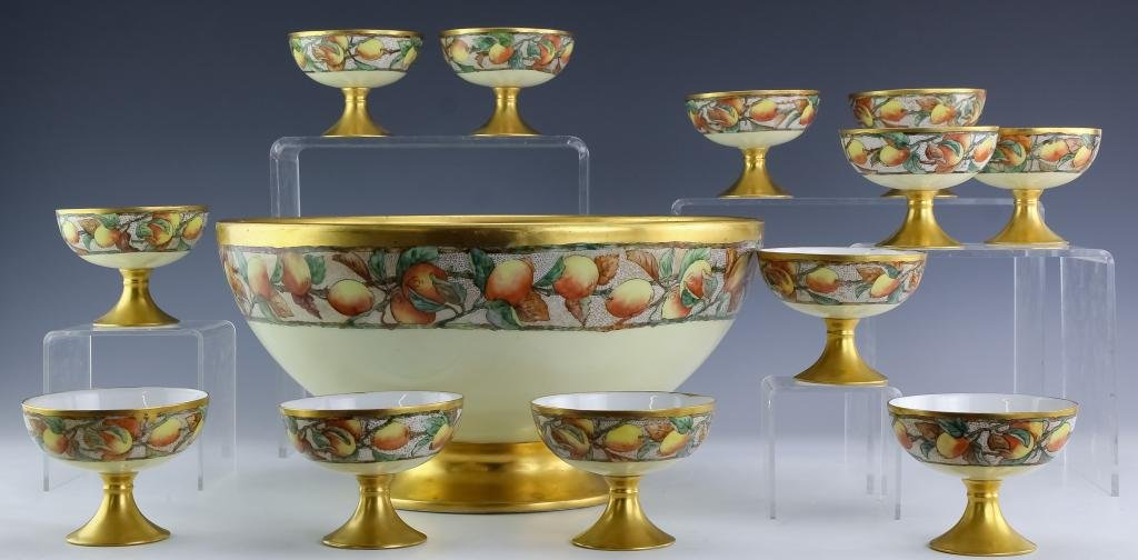 French Limoges Hand Painted Punch Bowl w 12 Cups