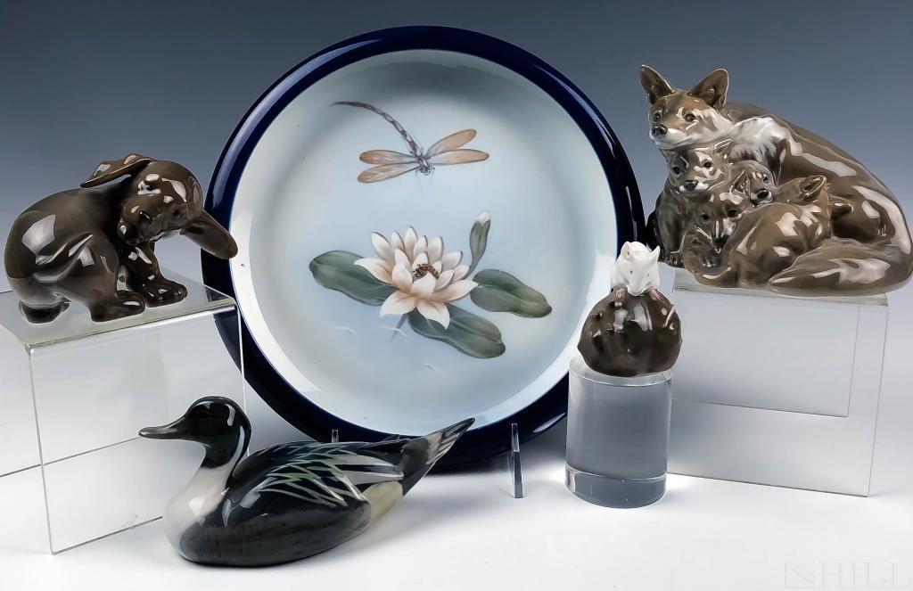 LOT 5 Royal Copenhagen Porcelain Figures and Dish