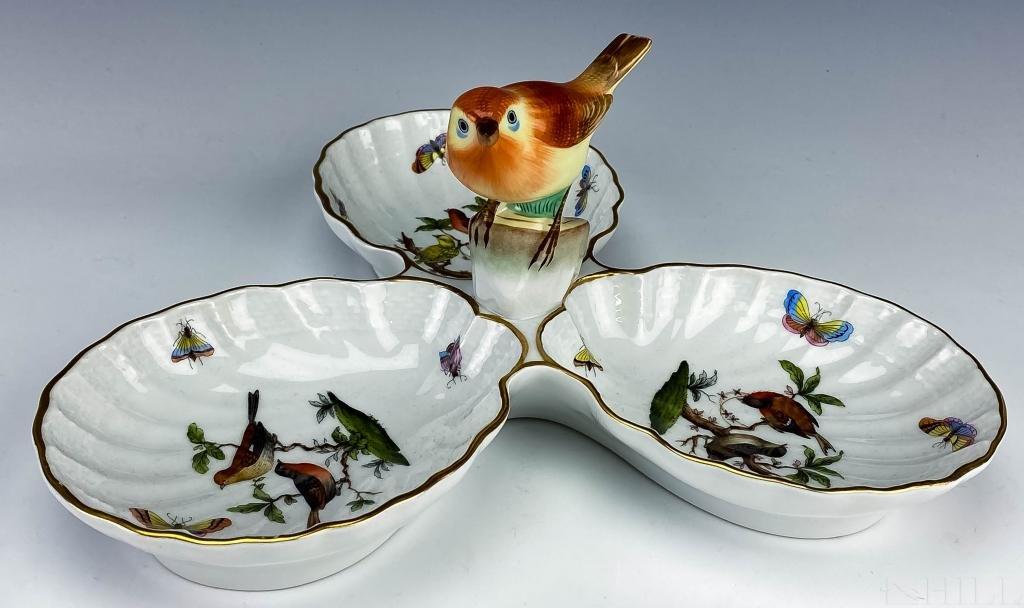 Herend Rothschild Bird 3 Part Handle Candy Dish